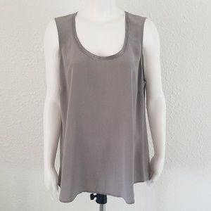 Eileen Fisher Gray Silk Long Shell Tunic L